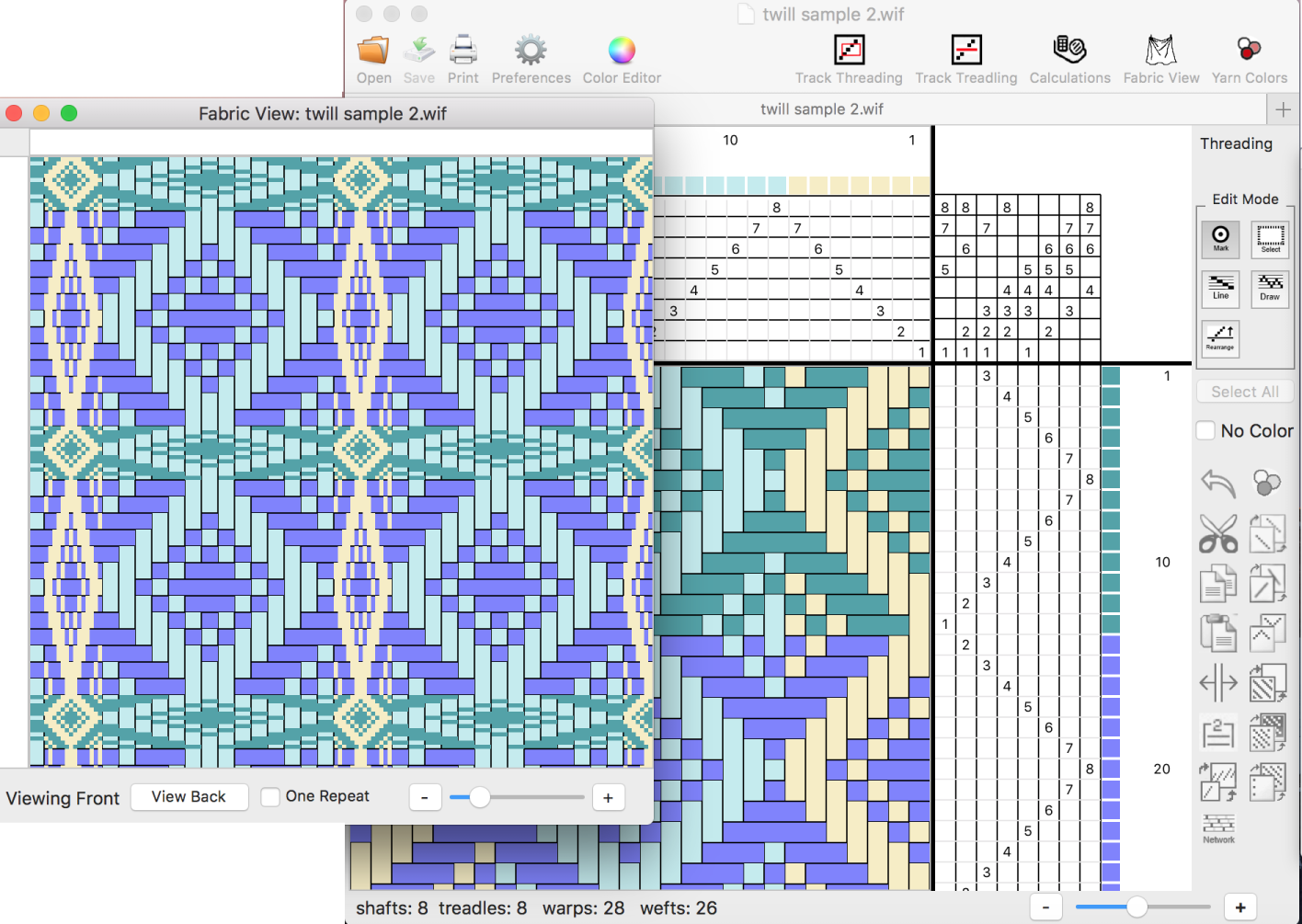 WeaveIt -- A Handweaving design software Program